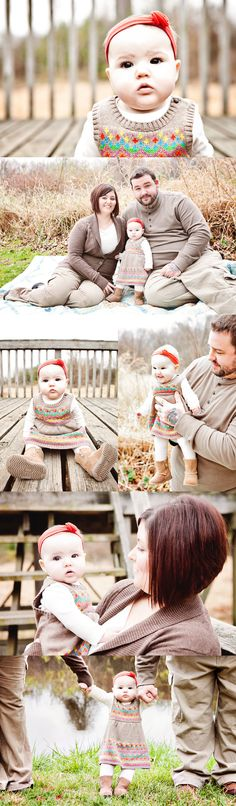 6 month baby girl session at Luhr Park in LaPorte, Indiana. Adorable sweater dress, boots, and headband! Nice color coordination for family photographs.