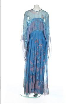 Robe de fleurs de Lys graffiti Zandra Rhodes 1960 par THEHAUTEDOOR