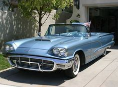 """Acapulco Blue (Ford Paint Code """"E"""") 1960 Thunderbird Convertible used in the """"Back to Beach"""" movie with Annette Funicello and Frankie Avalon. Also appeared in Leave it to Beaver and TV series 90210 too. American Classic Cars, Ford Classic Cars, Classic Chevy Trucks, Ford Thunderbird, Ford Motor Company, Muscle Cars, Classic Car Insurance, Cabriolet, Us Cars"""