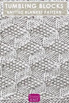 Knitting Videos, Arm Knitting, Knitting Stitches, Crochet Blanket Patterns, Knitting Patterns Free, Stitch Patterns, Free Pattern, How To Start Knitting, Tumbling Blocks