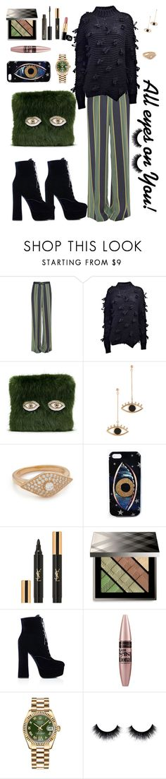 """""""🔸️🔸️ALL EYES ON YOU! 🔸️🔸️"""" by karlamy ❤ liked on Polyvore featuring Dries Van Noten, Simone Rocha, Shrimps, Contempoh, Native Gem, Yves Saint Laurent, Burberry, Prada, Maybelline and Rolex"""