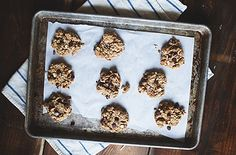 """Good for you chocolate chip """"cookies"""". No butter, no flour, no sugar. Lightly sweetened with honey."""