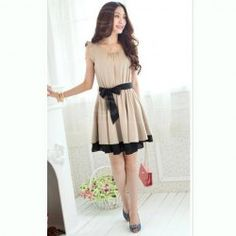 $7.15 Sweet Scoop Neck Flounce Sleeve Layered Hem Elastic Waisted Chiffon Dress For Women