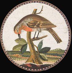Plaque ronde en micro mosaïque romain représentant des ruines de Tivoli Italie circa 1790 – 1800 – Diam 7cm.