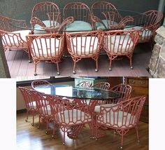 Chinoiserie Patio Table And Eight Chairs Hollywood Regency Faux Bamboo Chinese Chippendale New Shipping Info