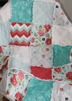 Crib Rag Quilt Baby Girl Crib Bedding Coral Pink Teal by justluved