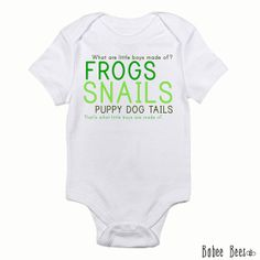 What are Little Boys Made of, Cute Baby Boy Clothes, Frogs Snails and Puppy Dog Tails