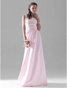 A-line Scoop Floor-length Satin Bridesmaid/Wedding Party Dress