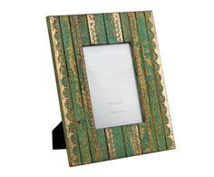 Marco de fotos en madera y metal repujado Jaipur, verde – 13x18 | Westwing Home & Living