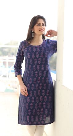 #printed #kurta #blue