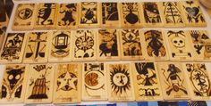 Persona Tarot Woodburned Coasters by Sewn Together Reflections on Etsy, $5.00 each.