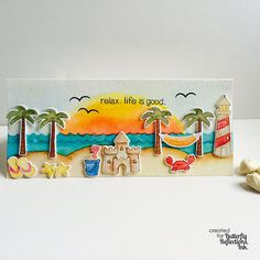 Lawn Fawn - Life is Good _ awesome watercolor beach scene by Rubz Naz via Flickr