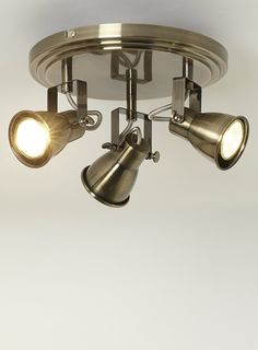 Antique Brass 3 Light Round Spotlight