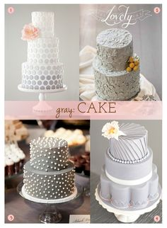 #gray wedding cakes ... Wedding ideas for brides, grooms, parents & planners ... https://itunes.apple.com/us/app/the-gold-wedding-planner/id498112599?ls=1=8 … plus how to organise an entire wedding, without overspending ♥ The Gold Wedding Planner iPhone App ♥