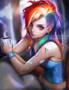 Rainbow Dash Morning by sakimichan
