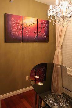 Sakura Flower Blossom Abstract Painting, Purple Tree Painting Gallery Wrap Textured Canvas Wall Art, Blossom Tree Branch Tree of Life
