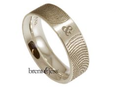COOL! YOUR FINGERPRINTS!! From www.brentjess.com - You and Me Forever Fingerprint Wedding Ring in Sterling Silver - Custom handmade fingerprint jewelry by Brent&Jess
