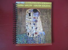 The Kiss by Klimt Record Cover Upcycled Sketch/Notebook Spiral Bound