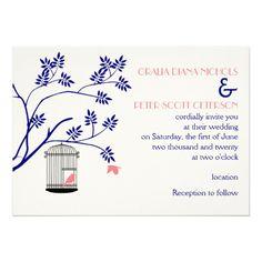 Bird cage navy blue and blush pink wedding custom invitation