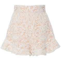 Alexis Barron Ruffled Lace Shorts (1.150 BRL) ❤ liked on Polyvore featuring shorts, skirts, bottoms, pants, white, tome, highwaist shorts, lacy shorts, high-waisted shorts and high-rise shorts
