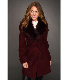 Vince Camuto Faux Fur Collar Coat Burgundy - 6pm.com