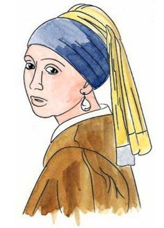 water coloring the lady with the pearl earring by Vermeer.
