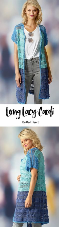 Long Lacy Cardi free crochet pattern in It's a Wrap yarn. This cardigan will make a perfect summertime addition to your wardrobe. Wear it with your favorite jeans or to the beach, it'll look great wherever you wear it.