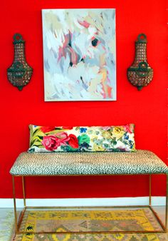 upholstered bench + pattern mix #red