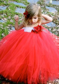 Red and White tutu dress