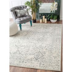 Maison Rouge Gibran Vintage Floral Ornament Ivory and Grey Rug (6'7 x 9') (Ivory)