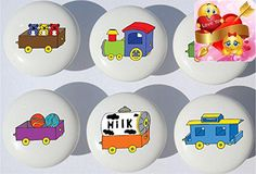 #nursery These #Train Ceramic Drawer Knobs add a perfect designer touch for Children's dresser drawer pulls, cabinet drawer pulls, furniture knobs, nursery chang...