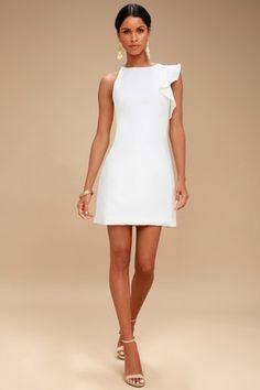 Fun White Dress - One-Shoulder Dress - Asymmetrical Dress// Rehearsal dinner dress White Dresses For Women, Little White Dresses, Sexy Dresses, Cute Dresses, Fashion Dresses, Short White Dresses, Party Dresses, Ladies White, Cute White Dress