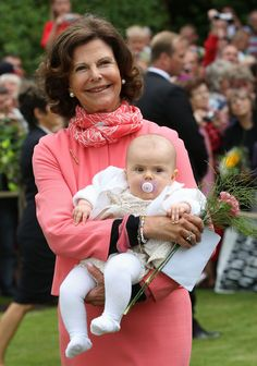 Zimbio:  Swedish Royal Family Celebrates Crown Princess Victoria's 35th Birthday July 14, 2012-Queen Silvia holding her granddaughter Princess Estelle