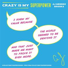 "Official AJ Mendez Brooks,Instagram: "" How's this for #MondayMotivation? Pow! #CrazyIsMySuperpower - Team AJ "" Original Text by: "" @officialajmendez "", Instagram"