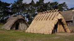 """An Anglo-Saxon-style house is to be pulled down so archaeologists can try to learn more about Century construction techniques. The wooden """"grubenhaus"""" at West Stow Anglo-Saxon Village, Suffolk, was built in 1974 to test building theories. Anglo Saxon Houses, Medieval Houses, Timber Architecture, Historical Architecture, Anglo Saxon History, Ancient History, Ancient Aliens, European Tribes, European History"""