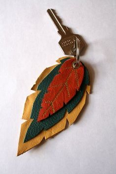 Leather key ring autumn leaves by BeetleCreative on Etsy, $12.50
