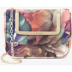 Ted Baker Technicolour Bloom Clutch Bag (2.730 CZK) ❤ liked on Polyvore featuring bags, handbags, clutches, purses, black, black handbags, chain handle handbags, pochette, purse and black clutches