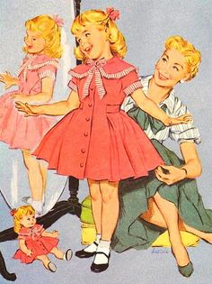Immensely sweet 1950s mom and daughter trying on new clothes...the doll's outfit even matches!