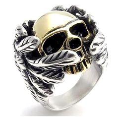 Cool 316L Stainless Steel Mens Fashion Motor Biker Skull ring #rings #skull #stainlesssteel Jewelry Rings, Skull Jewelry, Gothic Jewelry, Gold Jewellery, Jewelery, Silver Jewelry, Jewelry Accessories, Skull Rings, Silver Skull Ring