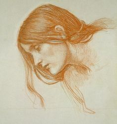 John William Waterhouse    Study of a girl's head    Red chalk on paper    Pre-Raphaelite