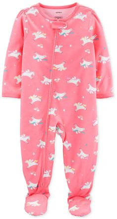 Carter's Girls One Piece Pajama Long Sleeve, Color: Pink - JCPenney Baby Girl Pajamas, Carters Baby Girl, Kids Pajamas, Toddler Girl, Baby Girls, One Piece Pajamas, Trendy Baby Clothes, Dress With Sneakers, Petite Fille