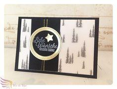 Weihnachtskarte, gold, schwarz, Tannen