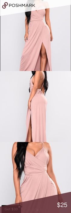 NWT fashion nova high slit dress BRAND NEW NEVER WORN super cute maxi dress with high slit in the front mauve color super cute for spring and summer coming up Fashion Nova Dresses Maxi