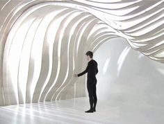 What is the true power of architecture and interior design? To surround? To engage? To guide users thru space? Yes, but it should be a lot. Architecture Pliage, Architecture Origami, Kinetic Architecture, Architecture Images, Interior Architecture, Interior Design, Movement Architecture, Colani, Ceiling Design