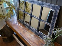 """37.5"""" X 21.75""""  Painted Barn Window Pane Mirror Homesteader Style by ABWframes on Etsy https://www.etsy.com/listing/169550262/375-x-2175-painted-barn-window-pane"""