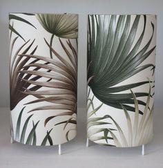 pair palm leaf barkcloth lamps