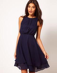Layered knee-length navy blue dress, sleeveless
