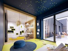 Family friendly home packed with modern decor ideas & home design features for different rooms. Find storage ideas, new furniture styles and colour combinations Futuristisches Design, Flat Design, Furniture Styles, New Furniture, Teen Room Designs, Skyfall, Flat Interior, Lounge, Contemporary Interior