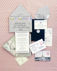 The duo designed their invites, lined the envelopes with Paris maps, and finished them with vintage stamps.