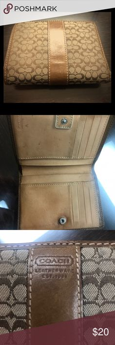 COACH SIGNATURE WALLET tan Coach signature wallet.  Used and shows some normal signs of wear inside.  The outside has no stains or marks.  A lot of life left in it.  Very nice color. Coach Bags Wallets